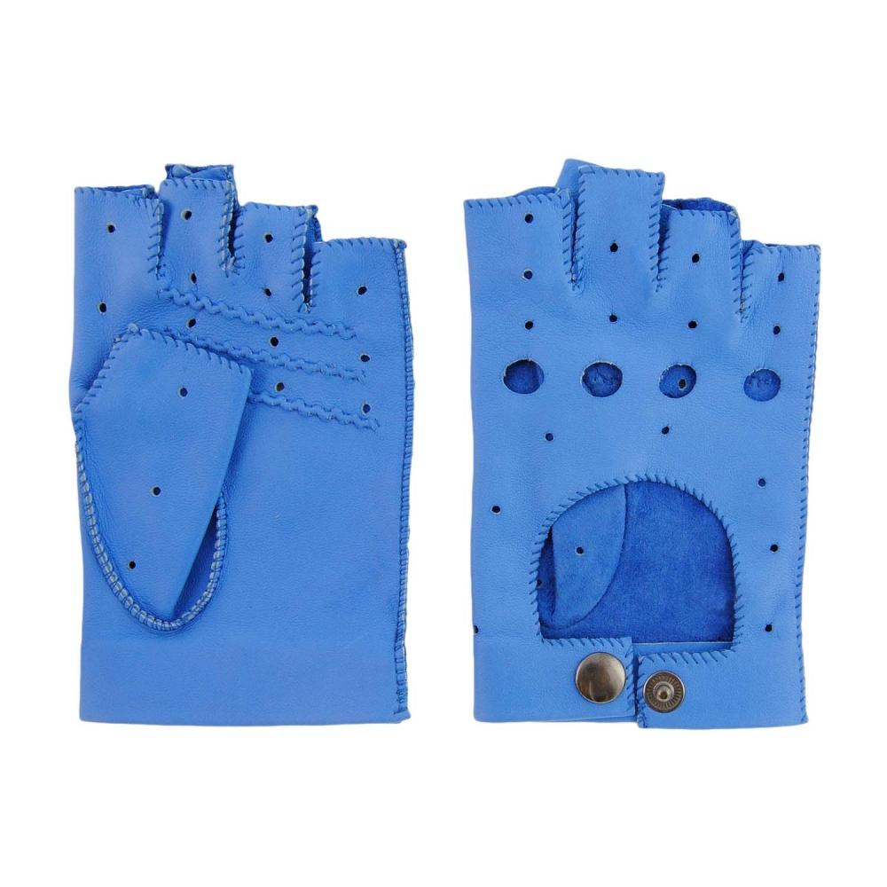Guantes de piel azules